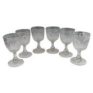 6 Antique Magnet and Grape with Frosted Leaf Clear Pattern Glass Goblets c.1870
