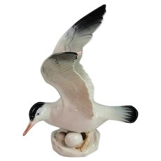 "6 3/4"" Rorstrand Porcelain Seagull Wings Spread Figurine Made In Sweden Mint"