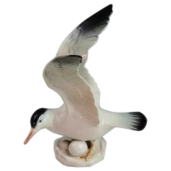 """6 3/4"""" Rorstrand Porcelain Seagull Wings Spread Figurine Made In Sweden Mint"""