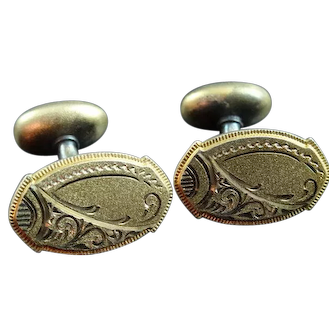 Victorian Gold Filled Very Fancy Engraved Cufflinks