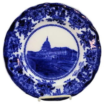 Staffordshire Flow Blue Plate The US Capitol Washington