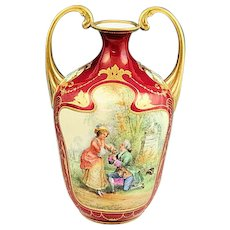 Antique Dresden Ambrosius Lamm Hand Painted Gold Gilded Vase