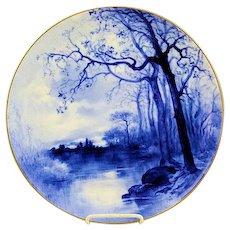 "Rare 13 1/2"" Antique Blue Haviland Limoges Artist Signed Hand Painted Charger"