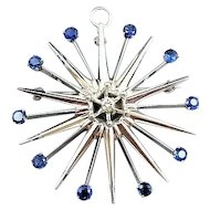 Antique Art Deco 14K White Gold Sapphire & Diamond Star Burst Brooch Pin