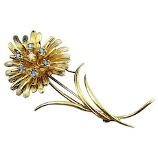 14K Gold Diamond and Sapphire Flower Brooch Pin Marked DET By Designer David Trabich