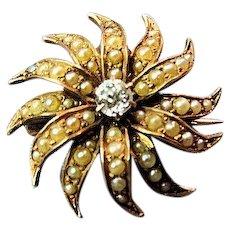 Antique Victorian 14k Rose Gold Sunburst & Diamond Brooch Pin Pendant