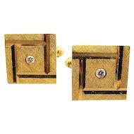 Larter & Sons Art Deco 14K Gold and Diamond Cufflinks