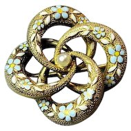 Antique Victorian 14k Gold Floral Enamel and Pearl Love Knot Brooch Pin
