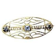 Edwardian 14k Gold Sapphire & Seed Pearl Brooch Pin