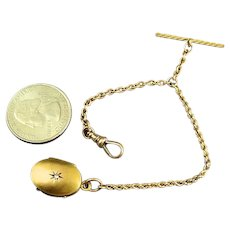 Rare Antique 14k Gold Pocket Watch Chain With 14k Gold Locket With Diamond Fob