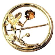 Vintage 14k Gold And Amber Topaz Circle Flower Brooch Pin