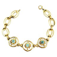 Vintage Soret 14k Rose Gold and Blue Topaz Link Bracelet