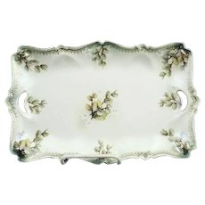 Antique RS Prussia Tray With Pussywillows Tiffany (satin) Finish
