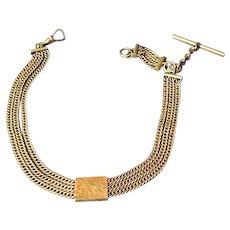 Antique Gold Filled Triple Strand Albert Slide Pocket Watch Chain