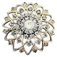 Vintage Jomaz Clear Pave Crystal Rhinestone Sunburst Brooch Pin