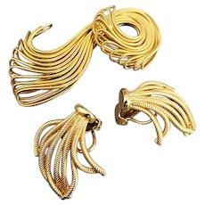 Mid Modern Century Goldtone NAPIER Ornate Brooch Pin & Earrings
