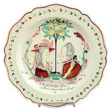 Antique English Creamware Royal Souvenir Plate of Dutch William V Prince of Orange Wedding