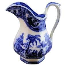"Rare Staffordshire Kyber Flow Blue 7 1/2"" Milk Pitcher By Adams Excellent Cond"