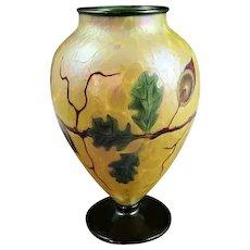 "Orient & Flume Ed Alexander/David Smallhouse Oak Tree & Acorn Art Glass Vase 9"""