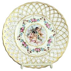 Antique Dresden Cabinet Plate Von Schierholz Austria Cherub Reticulated Plate 1905
