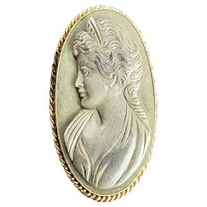 Antique 14k Gold and Carved Natural Dark Opal Cameo Pendant