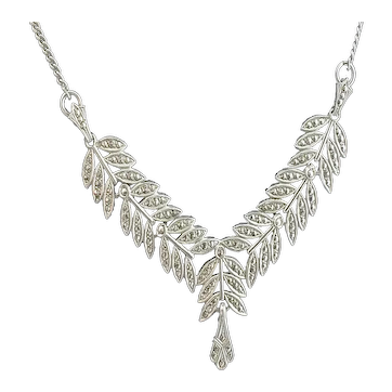 Vintage Sterling Silver and Marcasite Necklace