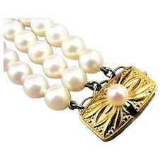 Mikimoto 18K Yellow Gold 5.5mm Pearl 3-Strand Bracelet