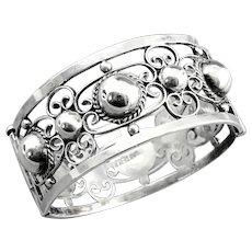 Fancy Fred Harvey Era Sterling Silver Mexican Bracelet