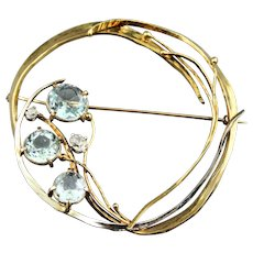 14K and 18K Gold 6ct Aquamarine and Diamond Brooch Pin Signed