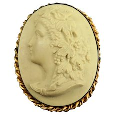 Antique Classic Carved Cameo Brooch Pin