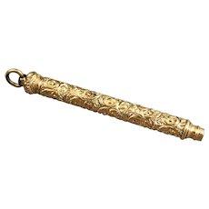 Antique Victorian Gold Filled Repousse Retractable Mechanical Pencil