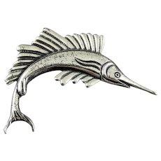 Large Vintage Sterling Silver Sail Fish Brooch Pin