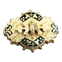 Victorian Gold Filled  Taille D'Epargne Enamel Brooch Pin