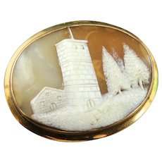 Natural Shell Cameo and 10K Gold Pendant Brooch Pin Castle Tower