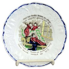 Rare Staffordshire Motto Plate Angels With Embossed Strawberry Border