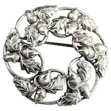 Danecraft Sterling Oak Leaf and Acorn Wreath Brooch