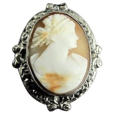 Antique Sterling Silver Carved Shell Cameo Brooch Pin
