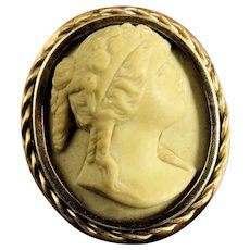 "Victorian 1"" Gold Filled Carved Lava Cameo Brooch Pin"