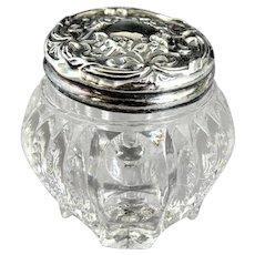 Antique Sterling Silver Topped Glass Dresser Jar