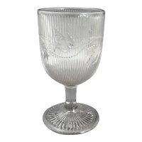 EAPG Flint Glass Ribbed Bellflower Water Goblet