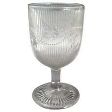 EAPG Flint Glass Ribbed Bellflower Water Goblet