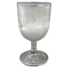 Antique EAPG Flint Glass Ribbed Bellflower Water Goblet