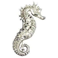 Heavy Vintage Sterling Silver Seahorse Brooch Pin