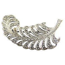 Art Nouveau Sterling Silver Marcasite Feather Pin Brooch