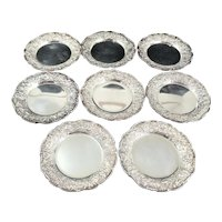 8 Kirk & Son Repousse Sterling Silver Butter Pats Dishes No Monograms