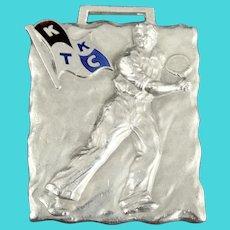 Vintage Sterling Silver Tennis Medal Medallion KT & KC