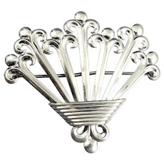 Vintage WRE Sterling Silver Modernist Basket Of Flowers Brooch Pin