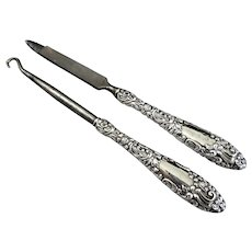 Victorian Repousse Sterling Handle Button Hook and Nail File