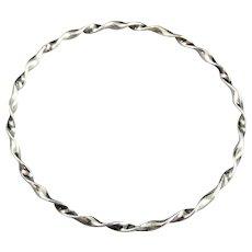 Vintage Sterling Silver Twist Bangle Bracelet