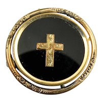 Antique Victorian Reversible Gold Filled and Onyx Mourning Brooch Pin